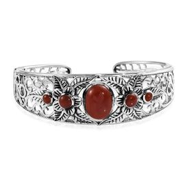 Doorbuster Deal-  Burmese Red Jade (Ovl and Rnd) Cuff Bangle (Size 7.5) in Sterling Silver 11.50 Ct,