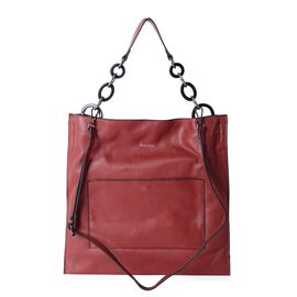 Sencillez 100% Genuine Leather Burgundy Colour Tote Bag with Removable Shoulder Strap (Size 42x40.5)