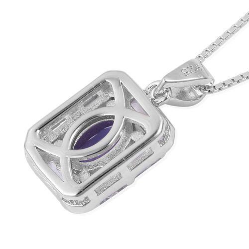 Tanzanite (Ovl), White Topaz Pendant with Chain (Size 18) in Rhodium and Platinum Overlay Sterling Silver 1.110 Ct.