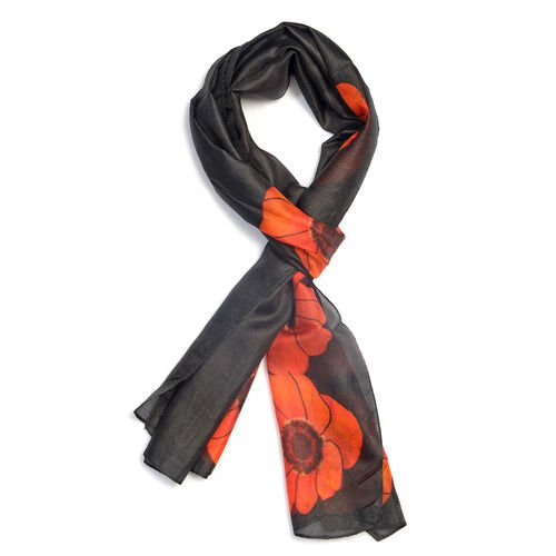 100% Mulberry Silk Orange and  Red Poppy Flower Pattern Black Colour Scarf (Size 180X50 Cm)