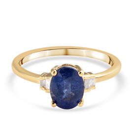 Masoala Sapphire and White Diamond Ring in 14K Gold Overlay Sterling Silver 1.65 Ct.