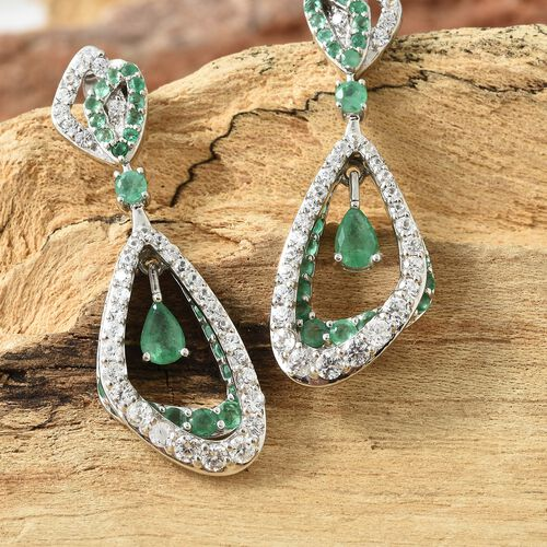 AA Kagem Zambian Emerald (Pear and Rnd), Natural Cambodian Zircon Earrings (with Push Back) in Platinum Overlay Sterling Silver 5.500 Ct. Silver wt 9.35 Gms. Number of Gemstone 142