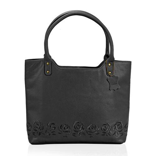 Premium Super Soft 100% Genuine Leather Black Large Tote Handbag with RFID Blocker and Embroidery Ro