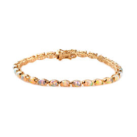 7.75 Ct Ethiopian Welo Opal Tennis Bracelet in Gold Plated Sterling Silver 9.95 Grams 8 Inch