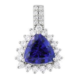 RHAPSODY 950 Platinum AAAA Tanzanite (Trl 4.500 Ct.), Diamond (VS/E-F) Pendant  5.150  Ct.