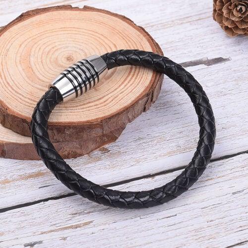 Genuine Braided Leather Enamelled Bracelet (Size 7) in Stainless Steel - Black