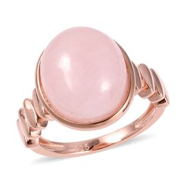 One Time Deal- Extremely Rare Size Zambezia Morganite (Ovl 14x12 mm) Ring in Rose Gold Overlay Sterling Silver 10.00 Ct.