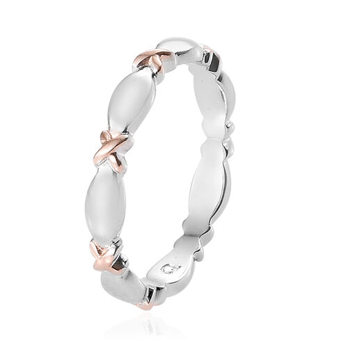 Platinum and Rose Gold Overlay Sterling Silver Band Ring