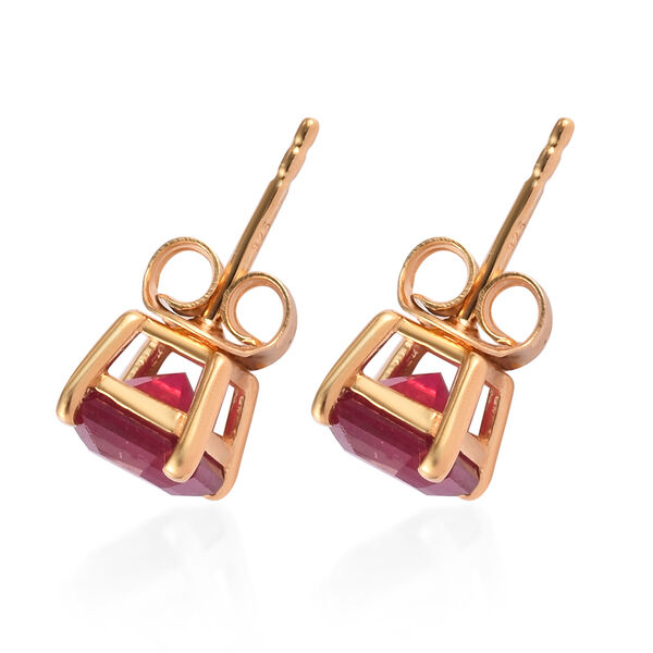 African Ruby (Asscher Cut) Solitaire Stud Earrings (with Push Back) in 14K Gold Overlay Sterling Silver 3.07 Ct.