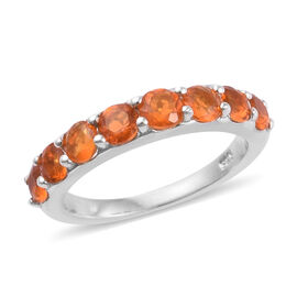 Jalisco Fire Opal (Rnd 3.5 mm) Band Ring in Platinum Overlay Sterling Silver 1.000 Ct.