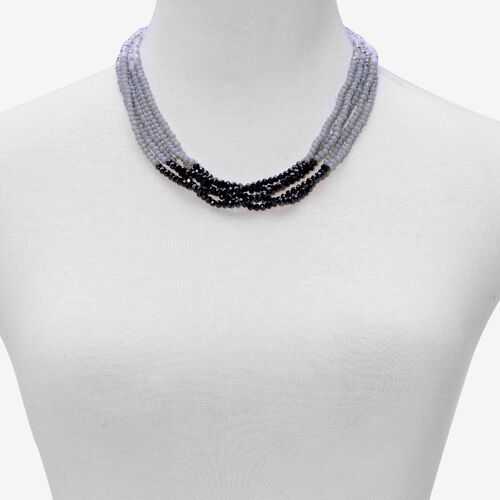 Black and Multi Colour Seed Beaded Necklace (Size 20) in Gold Tone
