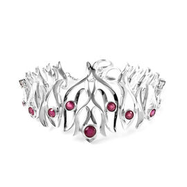 LucyQ Flame Collection - African Ruby Bracelet (Size 8) in Rhodium Overlay Sterling Silver Carat Wt