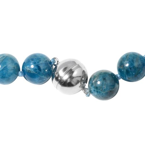 Extremely Rare Paraiba Apatite (Rnd 11-13mm) Beads Necklace (Size 20) with Magnetic Lock in Rhodium Plated Sterling Silver 537.500 Ct.