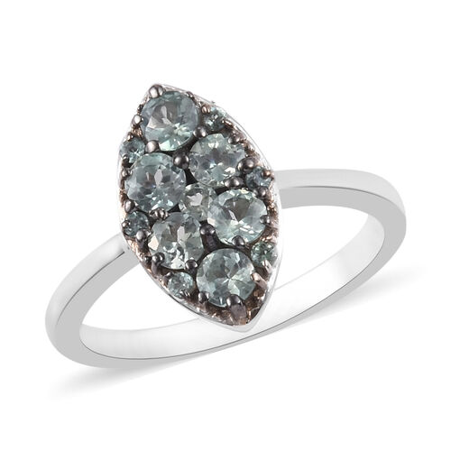 1 Carat AA Narsipatnam Alexandrite Cluster Ring in Platinum and Black Plated Sterling Silver