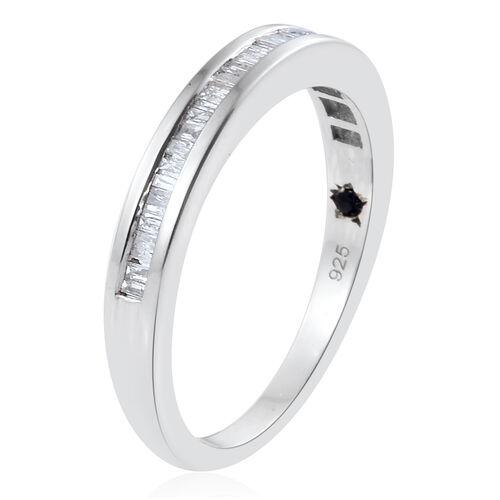 GP Diamond (Bgt), Kanchanaburi Blue Sapphire Ring in Platinum Overlay Sterling Silver 0.350 Ct.