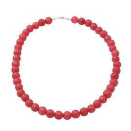 Pink Chalcedony Beads Necklace (Size 18) in Sterling Silver 250.00 ct.