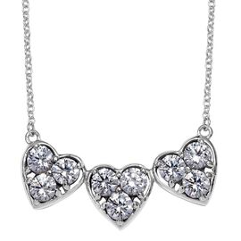 J Francis - Platinum Overlay Sterling Silver (Rnd) Tri Heart Necklace (Size 18) Made with SWAROVSKI