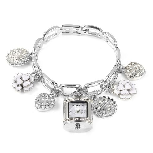 STRADA Japanese Movement White Austrian Crystal Studded Water Resistant Watch and Multi Charm Bracelet (Size 7.5)