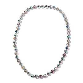 Magic Color Glass Beaded Necklace in Stainless Steel 28 Inch