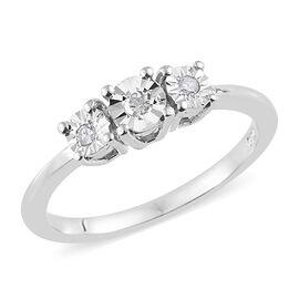 Diamond (Rnd) 3 Stone Ring in Platinum Overlay Sterling Silver