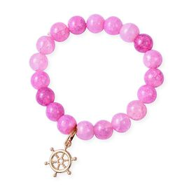 Fuchsia Agate (Rnd) Bead Bracelet (Size 7 Stretchable) with Ship Wheel Charm in Yellow Gold Plating
