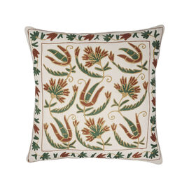 Assots London Hand Made 100% Cotton Embroidered Cushion Cover (Size 45x45cm) - Green & Brown