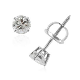 NY Close Out 14K White Gold Diamond (Rnd) (I1-I2/ G-H) Stud Earrings (with Screw Back) 0.50 Ct.