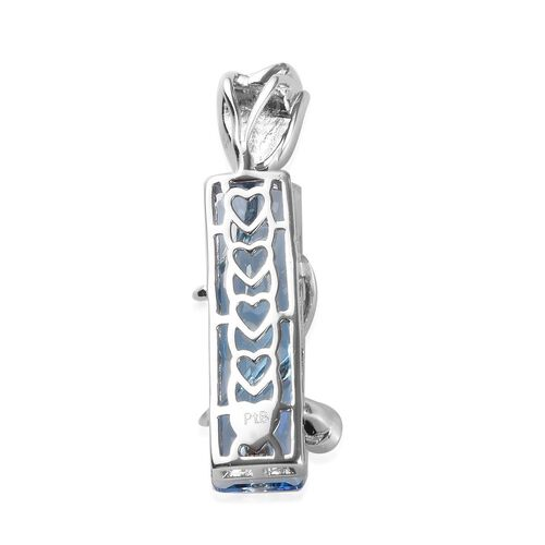 J Francis Crystal from Swarovski - Aquamarine and White Colour Crystal Pendant in Platinum Plated