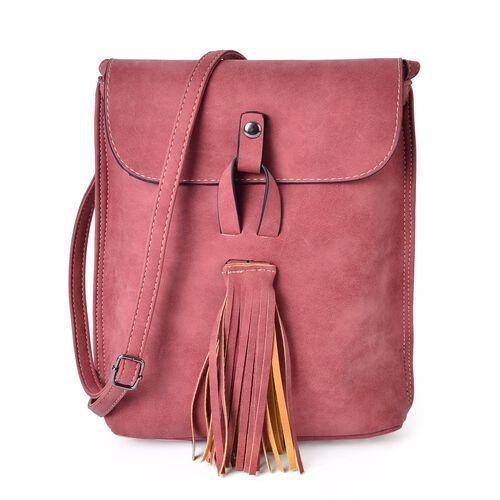 Dark Pink Colour Crossbody Messenger Bag with Fringes and Adjustable Shoulder Strap (Size 25x21x7 Cm)