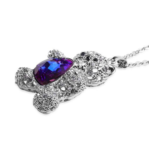 Simulated Bi-Colour Purple and Blue Sapphire, Black and White Austrian Crystal Teddy Bear with Heart Pendant With Chain (Size 30 with Extender) in Silver Tone