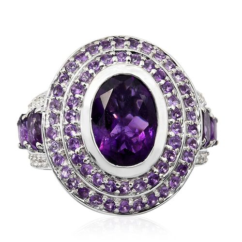 8.25 Ct Amethyst and Zircon Art Deco Halo Ring in Platinum Plated Silver 10.17 Grams