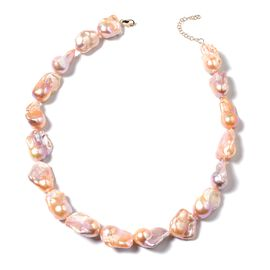 9K Yellow  Gold AAA Baroque Freshwater Peach Pearl Necklace (Size 18 with 2 inch Extender)