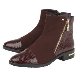 Lotus Snake-Print Microfibre Coppice Ladies Ankle Boots - Maroon