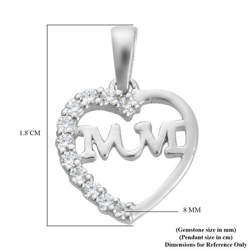 J Francis Platinum Overlay Sterling Silver Heart Mum Pendant Made with SWAROVSKI ZIRCONIA