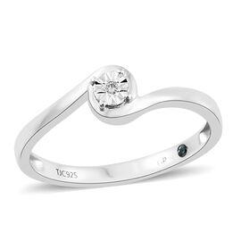GP Diamond (Rnd), Kanchanaburi Blue Sapphire Ring in Platinum Overlay Sterling Silver