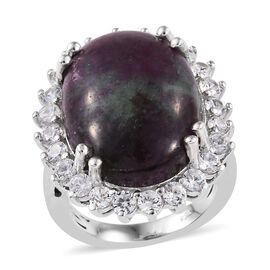 Ruby Zoisite (Ovl 20x15 mm), Natural Cambodian Zircon Ring in Platinum Overlay Sterling Silver 20.75