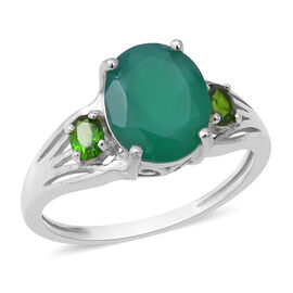 3.50 Ct Green Onyx and Russian Diopside Solitaire Design Ring in Sterling Silver