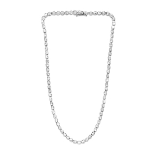 Limited Edition- Artisan Crafted Polki Diamond Necklace (Size 18) in Platinum Overlay Sterling Silve