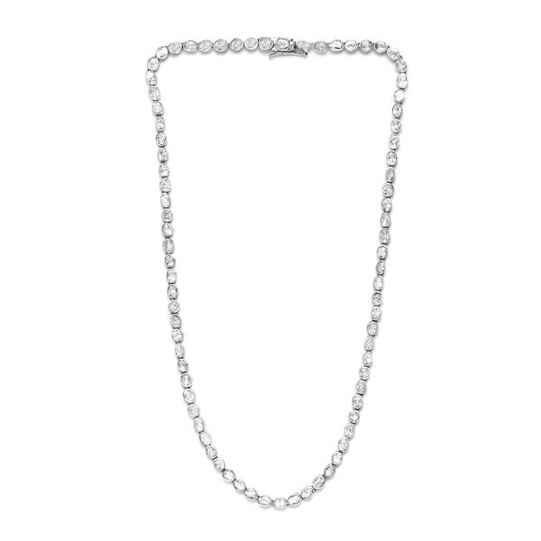 Artisan Crafted Polki Diamond Necklace (Size 18) in Platinum Overlay Sterling Silver 6.00 Ct, Silver