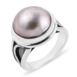 Royal Bali Mabe White Pearl Solitaire Ring in Sterling Silver 7 Grams