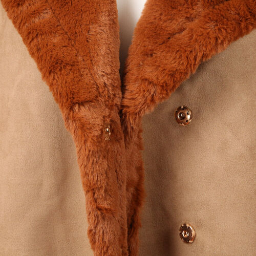 Urban Mist Faux Fur Suede Shearling Soft Fleece Lined Collar Coat with Pockets (Size M; 10-12) (L: 72cm) - Rust Brown