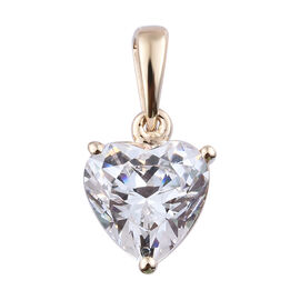 J Francis - 9K Yellow Gold (Hrt 8 mm) Heart Pendant Made with SWAROVSKI ZIRCONIA