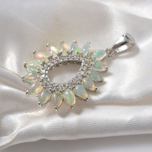 Ethiopian Welo Opal (Pear), Natural Cambodian Zircon Pendant in Platinum Overlay Sterling Silver 2.500 Ct.