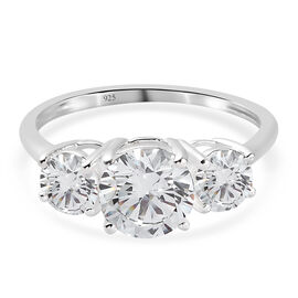 J Francis Sterling Silver 3 Stone Ring Made with SWAROVSKI Zirconia 3.79 Ct.