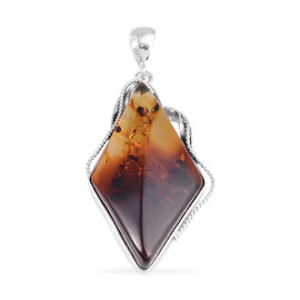 Baltic Amber Pendant in Rhodium Overlay Sterling Silver