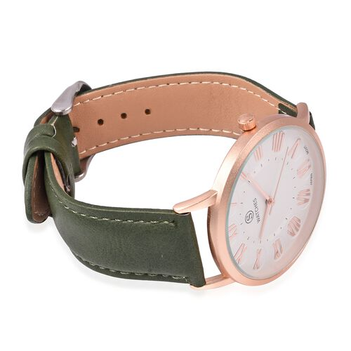 STRADA Japanese Movement Water Resistant Watch with Green Colour Strap