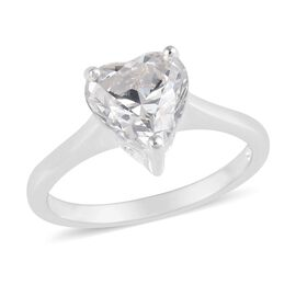 J Francis - Sterling Silver (Hrt) Solitaire Ring Made with SWAROVSKI ZIRCONIA