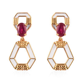 African Ruby Enamelled Earrings (with Push Back) in 14K Gold Overlay Sterling Silver 1.25 Ct.