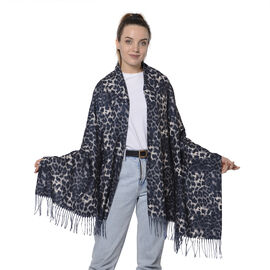 Close Out Deal- Reversible Leopard Pattern Shawl with Tassels (Size 180x70+8cm)- Grey