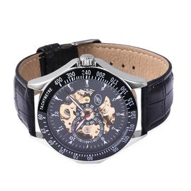 GENOA Automatic Skeleton Dial and Leather Strap Water Resistance Watch - Black